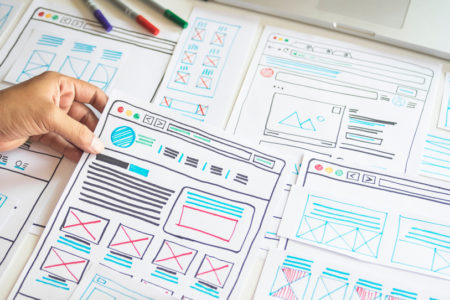 wireframe design is being planned in the website or mobile application planning stage